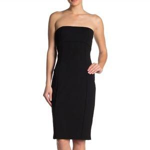 💋 Bebe Little Black Dress Bodycon Strapless Midi